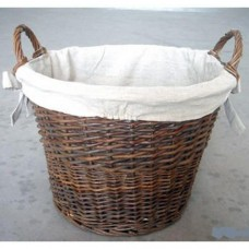 Inglenook, Wicker Log Basket With Removable Liner